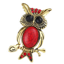 Crystal Turquoise Vintage Animal Brooches Wise Owl Bird Horned Animal Red