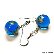 15mm Earth Globe World Marble Earrings Celestial Jewellery - Astronomy Space