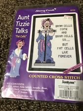 Janlynn Cross Stitch Kit Aunt Tizzie Talks Fat Cells 5 X 7 Frame Funny Comical