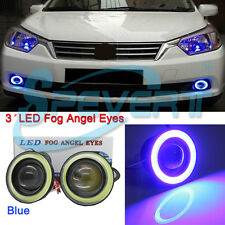 "2pcs 3200LM 3"" Projector LED Fog Lights COB Car Halo Angel Eyes Rings White/Blue"
