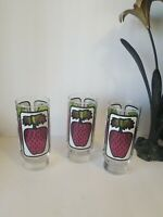 """3 Vintage 1970's Libbey """"Berries"""" tall pedestal  tumblers """"stained"""" strawberry"""