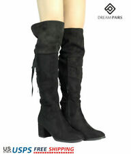 DREAM PAIRS Women's Faux Strechy Suede Casual Winter Lady Over The Knee Boots