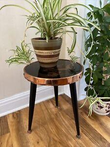 Vintage Retro Copper Black Glass Side Plant Coffee Table Atomic Dansette Legs