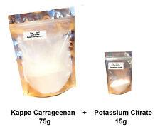 75g of Kappa Carrageenan  E407 + 15g Potassium Citrate E332 - VEGAN  VEGETARIAN