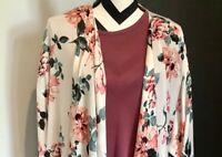 NWT Lularoe Large Shirley 🌹 Pink Roses Cream Floral Kimono HTF GORGEOUS!!!