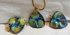 Vintage Unusual Irridescent Carnival Glass Necklace & Earring Set