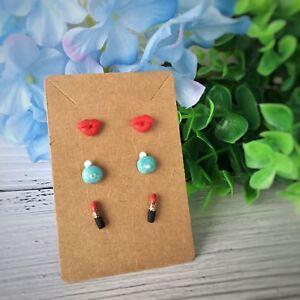 Set of 3 Stud Earrings Handmade Polymer Clay Earrings Set Red Lip Perfume Stud
