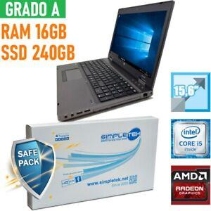 "NOTEBOOK HP PROBOOK 6560B I5 15,6"" 16GB 240GB SSD AMD RADEON BATT NUOVA-"