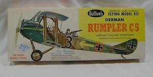"""Vintage Guillow's German RUMPLER C5 Flying Balsa Model Kit WWI 24"""" Wingspan"""