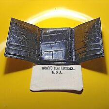 One Men's TRIFOLD WALLET Solid Italian Black Leather Croco Print - Made in USA