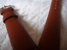 """16 mm BRACELET EN CUIR VERITABLE FACON LEZARD MARRON CLAIR """"CAMEL"""""""