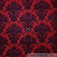 BonEful Fabric FQ Cotton Quilt Red Black Holiday Xmas Holiday Damask Flower Girl