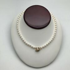 Vintage 14K Gold  Natural Pearl Necklace With Ruby Emerald Safire Inc Gift Pouch