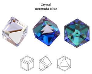 4 X Genuine SWAROVSKI 4841 Side Cut Cube Fancy Stones Crystal Bermuda Blue 4mm