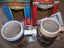 NEW 2002 & 2003 BUDWEISER HOLIDAY BEER STEINS With  COA MINT