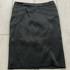 Gerard Black Satin Skirt UK14 Straight Midi Lined Back Split Pencil Occasion