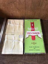 "VINTAGE IRISH LINEN DAMASK 66"" X 84"" TABLE CLOTH 8 NAPKINS EATONS OF CANADA BOX"