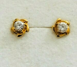18ct solid yellow gold&white diamond stud earrings ,hallmarked 750