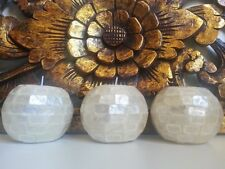 SET OF 3 MOTHER OF PEARL SHELL WHITE TEA LIGHT CANDLE HOLDERS BALI BALINESE