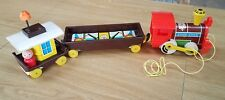 Vintage Fisher Price Little People Chug-Chug Magnetic Wooden Train w/ Cars 1964