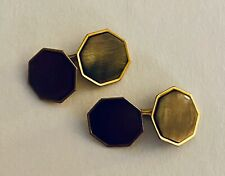 Vintage SWANK Men's Cufflinks~B & W Plate~Gold with Brown Mother of Pearl~EUC