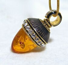 Amber Sterling Silver Faberge Egg Pendant Crystals Guilloché Enamel Gold-plate