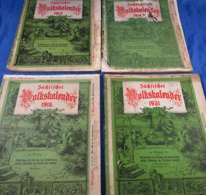 4 Sächsische Volkskalender 1913,1914,1915,1931 Ludwig Richter Dresden WW I