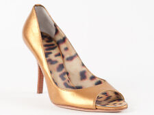 New  Roberto Cavalli Light Bronze Leather  Shoes Size 37 US 7