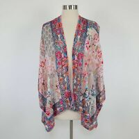 Feathers by Tolani Kimono Top OS One Size Open Front Floral Ivory Blue Pink