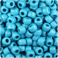 500 Dark Turquoise Matte 9x6mm Barrel Pony Beads Made in the USA