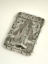 ANTIQUE VICTORIAN SOLID SILVER CASTLE TOP CARD CASE BIRM. 1852 SCOTT MEMORIAL