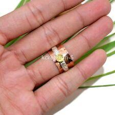 Citrine en cuivre solides bande argent spinner ring Statement Chunky Ring toutes tailles k30