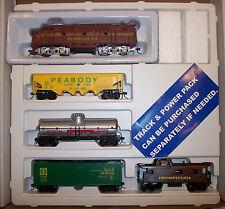 HO TRAIN SET PENNSYLVANIA  F3 LOCOMOTIVE + 3 CARS AND PRR CABOOSE #RR-540-PRR