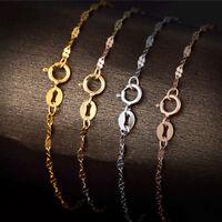 New  Pure 18k Yellow Rose White Gold Bangle Women Lucky Clover Link Bracelet