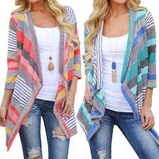 New Women Long Sleeve Cardigan Stripe Kimono Knitwear Loose Tops Blouse