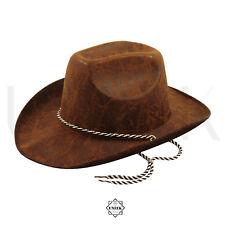 Adult Cowboy Hat - American Western Hat Cowgirl Leather Fancy Dress Bush Hat