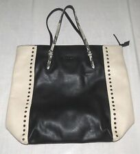 Sisley Black & Beige Tote Bag with Shiny Studs