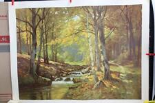 "Large Vintage Lithograph  Print ""When The Leaves Begin To Fall"" By E. Kruger"