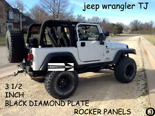 "Jeep TJ Wrangler 3 1/2"" Tall BLACK Rubber Coated Diamond Plate Rocker Panel set"