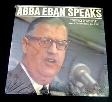 """SEALED ISRAEL FOREIGN MINISTER ABBA EBAN speaks to U.N. """"Voice of a People"""" 1967"""