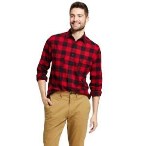 Goodfellow & Co Men's Collared Flannel Long Sleeve Button-Down Shirt Red Medium