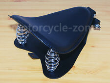 Black PU Leather SOLO Seat Pan Frame Cover Spring Base For Harley Bobber Chopper