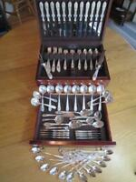 "KIRK & SONS ""ROSE"" STERLING SILVER FLATWARE*SET S-12+ SERVERS-90P+CHEST MINT****"