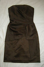 MORI LEE by Madeline Gardner Chocolate Brown Strapless Formal Evening Dress sz 8