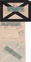 Italia Regno 3 lettere con striscie di 4 del 5 c. Floreale