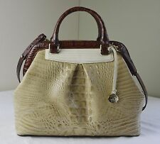 Brahmin Twill Tri Color Melbourne Croco Embossed Leather Bristol Satchel