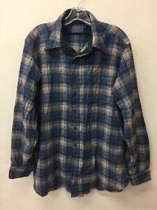 Men's Pendleton Blu/Brwn Plaid LS Button Shirt XL