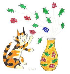 Original Art: Cat Vase Holly v2 Calico, Tortoiseshell #PeterBrighouseArtist