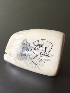 Vintage Scrimshaw Souvenir Decorative Tooth Polar Bear Art Eskimo Alaska Inuit