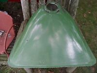 Vintage Large Metal Industrial Design Farm Green Enamel Light Shade
